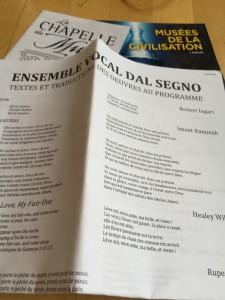 En innovativ tolkning av traditionella verk framfördes av Ensemble Vocal Dal Segno i Museékapellet i Quebec.