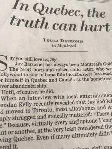 Montréal vs Toronto: Skådespelaren som flyttade väckte starka känslor. Och en triumferande kommentar i engelskspråkiga National Post.